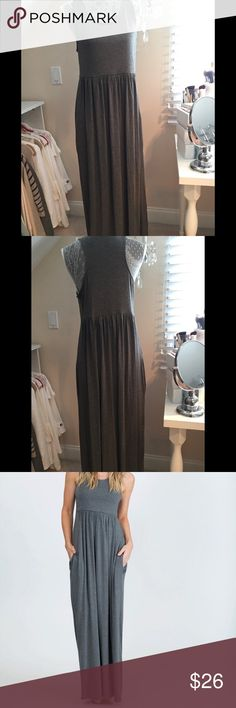 """NWOT Large Maxi with Pockets!! Gray 💕 Has pockets 💕 95% Rayon Modal 5% Spandex 💕 Runs True to Size 💕 Approx 58"""" long and 18"""" across (has stretch however) 💕 Cross posted 💕 Smoke free home Dresses Maxi"""