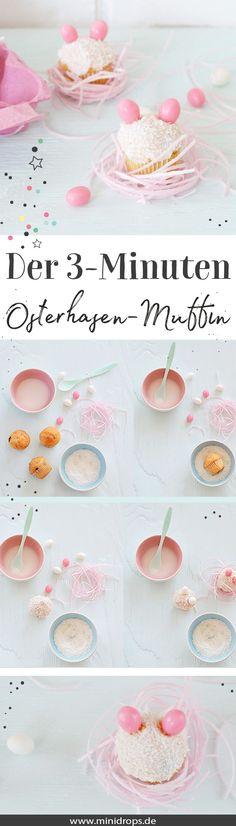 Einfacher geht es wirklich nicht! Kleine Mini Muffins als Hasen zu Ostern. Tutorial auf dem Minidrops Blog >> Viele weitere Ideen zu Ostern, basteln mit Kindern, Dekoration und Printables zu Ostern. Jetzt entdecken >> #ostern  #easter  #minidrops