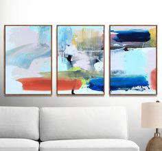 Set of 3 Prints Abstract Art Print Set 3 Abstract Prints Pink Art, Blue Art, Orange Color Schemes, Orange Art, Using Acrylic Paint, Wall Art Sets, Modern Wall Art, Abstract Wall Art, Original Art