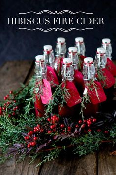A Recipe for Hibiscus Pomegranate Fire Cider from the Chestnut School of Herbal Medicine   #firecider #herbal #holiday #hibiscus