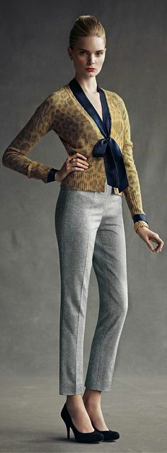 Gray trousers, navy blouse and leopard cardigan Banana Republic... Just trade for a grey skirt