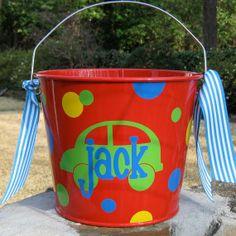 Personalized Easter Basket Bucket  #2014 #easter #basket #bucket www.loveitsomuch.com