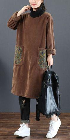 Loose High Neck Brushed Fleece Dresses For Women 5255 - Elegant Outfit Dress Shirts For Women, Summer Dresses For Women, Winter Dresses, Clothes For Women, Mori Girl Fashion, Hijab Fashion, Fashion Outfits, Womens Fashion, High Neck