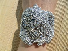 Starlight. Handmade, soutache bracelet. Shades of silver.. $34.99, via Etsy.
