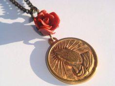 Serenity Prayer Vintage Brass Charm Necklace - Prayer Necklace - Holy Pendant - Religious Medal - Medallion - Handmade Rose Bead - Catholic by BellaAniela on Etsy https://www.etsy.com/listing/233143532/serenity-prayer-vintage-brass-charm