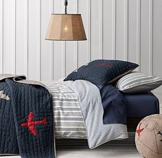 Vintage Ticking Stripe & Vintage-Washed Percale Bedding Collection