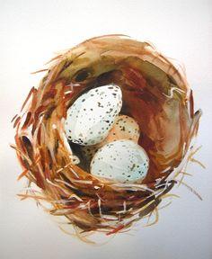 Bird's Nest small watercolour painting 8 x by TheresaMaxwellStudio, $30.00