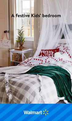 Cottage Christmas Decorating, Farmhouse Christmas Decor, Christmas Home, Xmas, Girl Bedroom Designs, Room Ideas Bedroom, Girls Bedroom, Bedroom Decor, Christmas Bedding