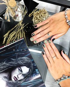 Olive green black nails