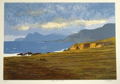 This is a screenprint of the Atlantic Drive on picturesque Achill Island, Co. Mayo, off the West Coast of Ireland. Achill is a favourite with artists as a result of the spectacular scenery.