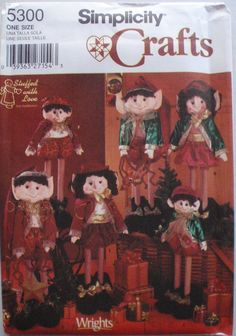 """Craft Pattern for 20"""" (51cm) and 24"""" (61cm) Elves - Simplicity 5300, Uncut by Shelleyville on Etsy"""