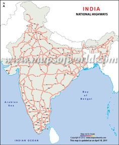 india Road map - The India road network map showing all the national highways of India. Giving comprehensive information on major roads and national highways, India Road Network Map is a great companion on roads of India. Bay Of Bengal, India Map, Arabian Sea, Worlds Of Fun, Usa Maps, Roads, Sample Resume, Image