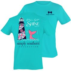 Shine T-shirt in Pool Blue By Simply Southern Collection Let your Light Shine with the help of this preppy lighthouse tee! - FRONT DESIGN: Simply Southern Bowtie Logo in Navy - BACK DESIGN: Navy and P