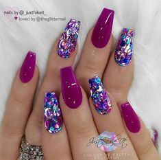 Salmon-colored ombre effect and glitter on the coffin nails - Nail Art Designs . - Salmon-colored ombre effect and glitter on the coffin nails – Nail Art Designs – - Sparkly Nails, Purple Nails, Purple Glitter, Pink Sparkly, Red Glitter Nails, Pink Purple, Maroon Nails, Yellow Nails, Manicure E Pedicure