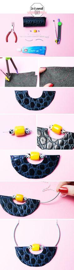 DIY mode collier plastron en cuir et perles unventdemode.com #diymode #bijoux #plastron #collier
