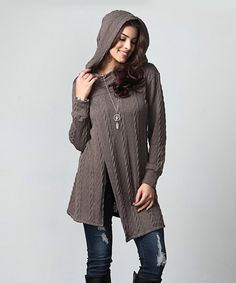 Reborn Collection Charcoal Cable Knit Asymmetrical Button Hooded Tunic - Plus | zulily