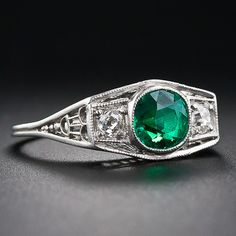 Art Deco Platinum Emerald and Diamond Ring - 30-1-5411 - Lang Antiques