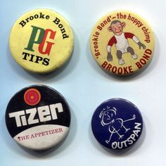 Four Vintage Pin Badges - Brooke Bond PG Tips, Tizer and Outspan.