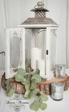 White lantern wedding centerpiece. Mercury glass votive. Rustic wedding centerpiece