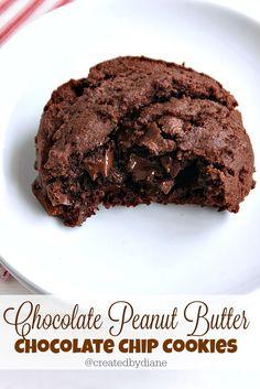 Chocolate Peanut Butter Chocolate Chip Cookies @createdbydiane
