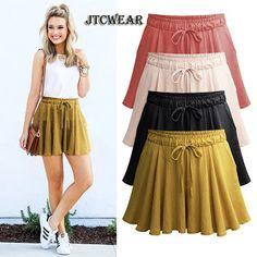 431f70d67c2 JTCWER Cool Thin Wide Leg Woman Shorts Loose Plus Size 5xl 6xl Elastic  Waist Drawstring Lady