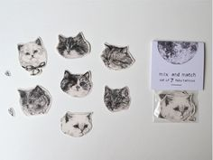temporary tattoos - set of 7 fake cat tatts - cats - pussycat - kitten - kitty. £10.00, via Etsy.