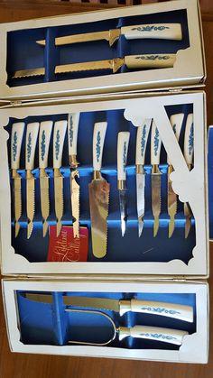 19 pc Sheffield cutlery knife serving  set Golden prestige blue flowers