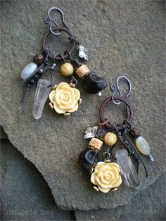 Flowers For the Ancestors Amulet Earrings by maggiezees on Etsy, $60.00