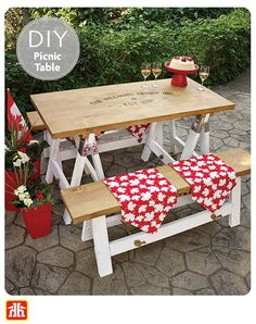 Build a unique DIY outdoor dining table for your backyard. This table is made with saw horse brackets and benches that have hinged legs designed to fold down for cold weather storage.