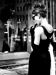 holly golightly - classic black dress + pearls