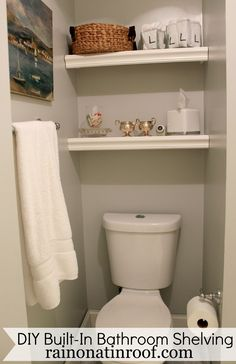 That wasted space above the toilet? Use it!! These shelves cost less than $25 to make and took less than an hour to build! DIY Built-In Bathroom Shelving