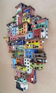 Cardboard City, Cardboard Sculpture, Cardboard Crafts, Wal Art, Driftwood Art, Art Lessons, Home Art, Art Projects, Sculpture Projects