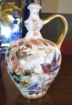 Beautiful Royal Bonn Hand Painted Vase with Birds, Flowers, Drilled for Lamp