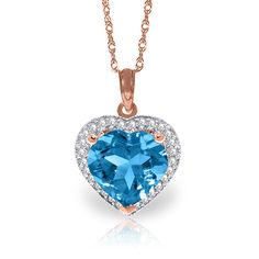 QP Jewellers Blue Topaz Halo Pendant Necklace ctw in White Gold Heart Shaped Necklace, Heart Shaped Diamond, Blue Topaz Diamond, Halo Diamond, Citrine Pendant, Blue Topaz Necklace, Necklace Online, Carat Gold, Gemstone Jewelry