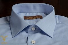 Blue Twill Dress Shirt With Classic Collar And Double Cuffs