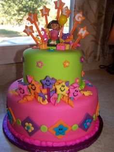 dora cake Front view will all the stars