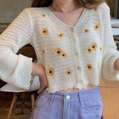 Pretty Outfits, Cool Outfits, Fashion Outfits, Cute Crochet, Crochet Top, Cardigan Outfits, Crochet Cardigan, Crochet Fashion, Crochet Designs