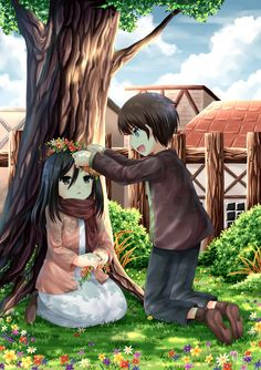 This is done by a Deviant Art member: Villiyane. Check it out here: http://villyane.deviantart.com/art/lil-Mikasa-and-Eren-416010121 All credit to her!!!