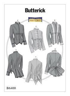 Details about BUTTERICK 6400 Misses Victorian Steampunk Military Jacket Costume Sewing Pattern - Jackets Burda Sewing Patterns, Costume Patterns, Vintage Sewing Patterns, Clothing Patterns, Fashion Patterns, Vogue Patterns, Viktorianischer Steampunk, Costume Steampunk, Patron Butterick