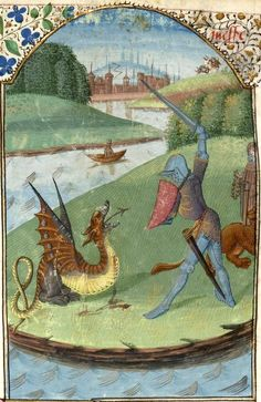 Dragon wounded by a knight -- «Messire Lancelot du Lac Medieval Books, Medieval Life, Medieval Manuscript, Medieval Art, Illuminated Manuscript, Fantasy Creatures, Mythical Creatures, Medieval Dragon, Medieval Paintings