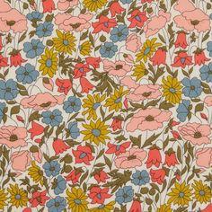Liberty stof Poppy and Daisy - Laks og Turkis Liberty Art Fabrics, Liberty Of London Fabric, Liberty Print, Fabric Patterns, Print Patterns, Fun Patterns, Pattern Designs, Lawn Fabric, Cotton Fabric