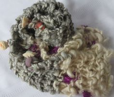 Hand Knit Bulky Scarf in Gray and Ivory with a little by bpenatzer, $89.00