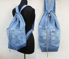 denim backpack upcycled jeans big drawstring by UpcycledDenimShop