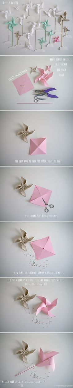 DIY Moulin à vent :Pinwheels Fun Crafts, Diy And Crafts, Paper Crafts, Paper Windmill, Diy For Kids, Crafts For Kids, Diy Pinwheel, Ideias Diy, Le Moulin