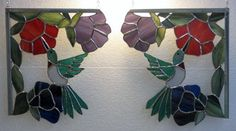 Stained glass Hummingbird corners (pair) [gm-3539a] - $145.00 : Glass Moose Cart, handcrafted glass, beads/supplies, jewelry, wood & metal art, signs