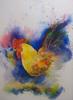"""Rooster. 11""""x15"""" #Brusho."""