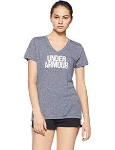 Under Armour Womens Threadborne Train Wordmark V Neck T-Shirt Crew Shirt, V Neck T Shirt, Gina G, White V Necks, T Shirts For Women, Clothes For Women, Graphic Shirts, Under Armour Women, Short Sleeves
