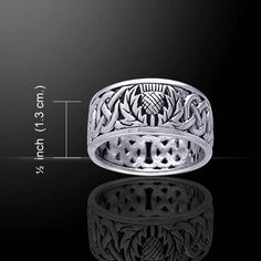 Celtic Thistle Ring in .925 Sterling Silver - Scottish Thistle Ring - Guardian Thistle of the Scots Jewelry