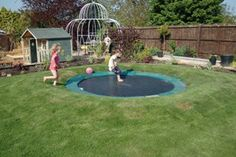 diy sunken trampoline! No more falling off but would be a BIG problem riding the bike across it!