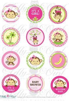 Pink Girl Monkey Baby Shower Cupcake Toppers by adlyowlinvitations, $3.50